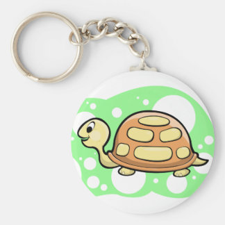 Bob the Turtle Illustration Basic Round Button Key Ring