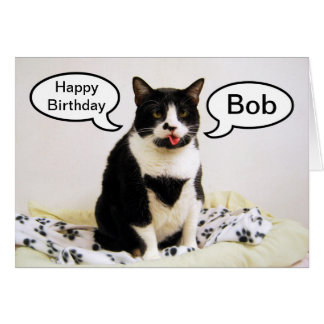 Bob Tuxedo Cat Birthday Humor Card