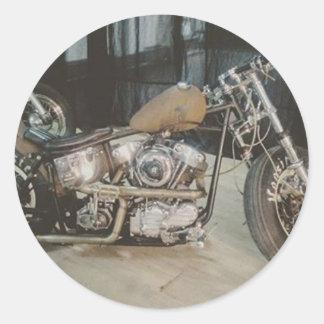 bobber bike classic round sticker