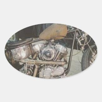 bobber bike oval sticker