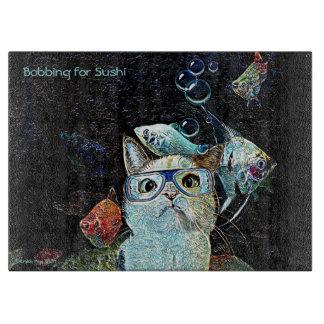 "Bobbing for Sushi 15"" x 11"" Glass Cutting Board"