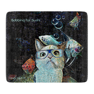 "Bobbing for Sushi 6"" x 7"" Glass Cutting Board"