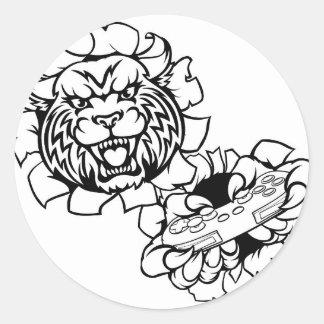 Bobcat Wildcat Esports Gamer Mascot Classic Round Sticker
