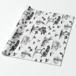 Bobwhite Quail Toile De Jouy Black and White Wrapping Paper