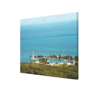 Boca Chita Key and The Miami Skyline Canvas Print