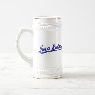 Boca Raton script logo in blue Beer Steins
