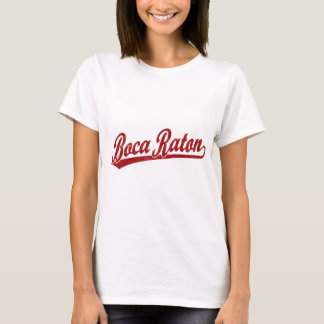 Boca Raton script logo in red T-Shirt