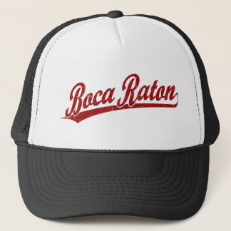 Boca Raton script logo in red Trucker Hat