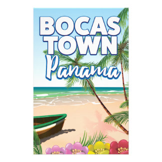 Bocas Town Panama Beach travel poster Stationery