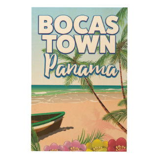 Bocas Town Panama Beach travel poster Wood Canvas