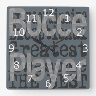 Bocce Player Extraordinaire Square Wall Clock