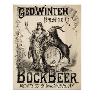 Bock Beer Brewing Co Vintage Antique Rustic Brewer