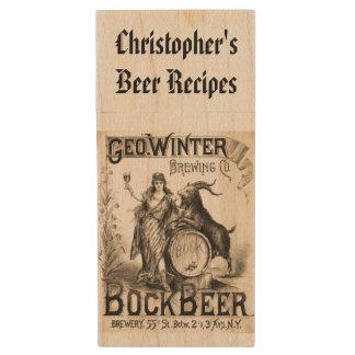 Bock Beer Brewing Co. Vintage Cool Home Brewer Wood USB 2.0 Flash Drive