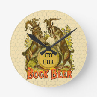 Bock Beer Goats Vintage Advertising Wall Clocks