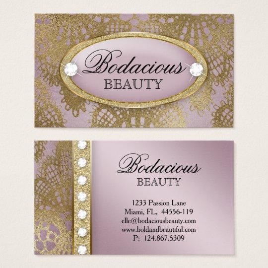 Bodacious Beauty Makeup Lace Diamond Mauve Gold 2 Business Card