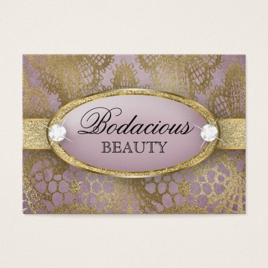 Bodacious Beauty Makeup Lace Diamond Mauve Gold Business Card