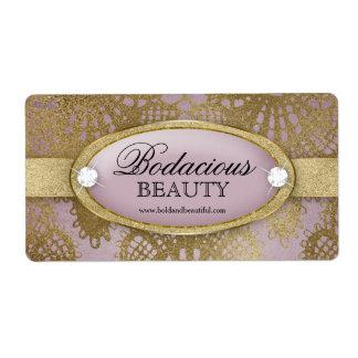 Bodacious Beauty Mauve Gold Lace Large Label