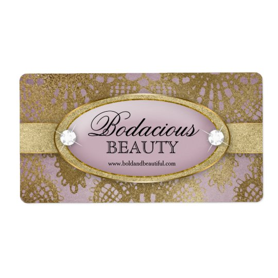 Bodacious Beauty Mauve Gold Lace Large Label Shipping Label