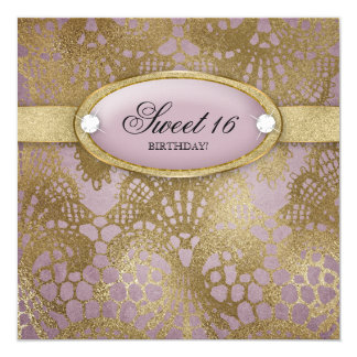 Bodacious Birthday Party Sweet 16 Mauve Gold Lace Card