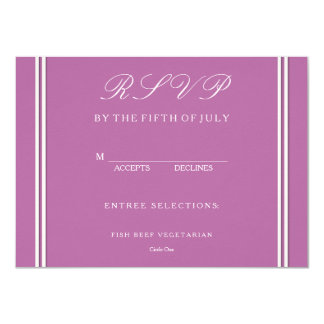 Bodacious Orchid Lilac with White Wedding Detail 11 Cm X 16 Cm Invitation Card