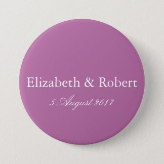 Bodacious Orchid Lilac with White Wedding Detail 7.5 Cm Round Badge