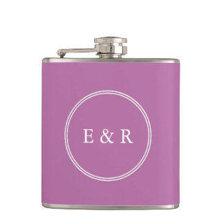 Bodacious Orchid Lilac with White Wedding Detail Flask