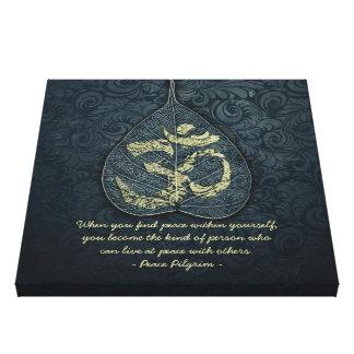 Bodhi Leaf & Gold OM Symbol Yoga Meditation Quotes Canvas Print
