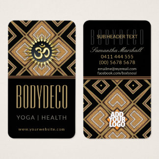 Body Art Deco Black Gold OM New Age Business Card