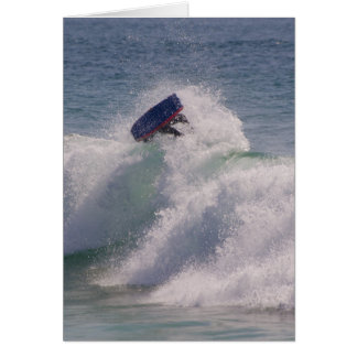 Body boarder riding a big wave cards