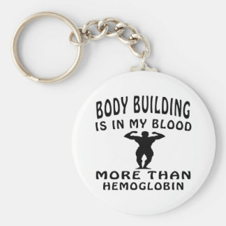 Body building designs basic round button key ring