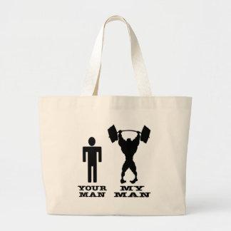 Body Building Your Man vs My Man Tote Bag