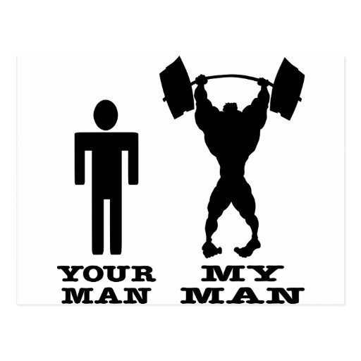 Body Building Your Man vs My Man Postcard