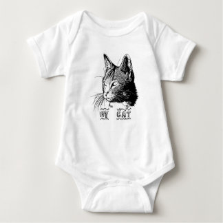 Body for baby with cat drawing baby bodysuit