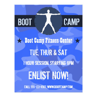Body Madness Boot Camp Fitness Blue Camo Flyers