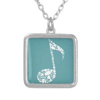 Body the note silver plated necklace