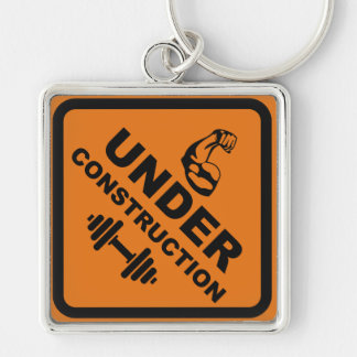 Body Under Construction Silver-Colored Square Key Ring