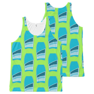 Bodyboard Beach Pattern Custom Color Lime Green All-Over Print Singlet