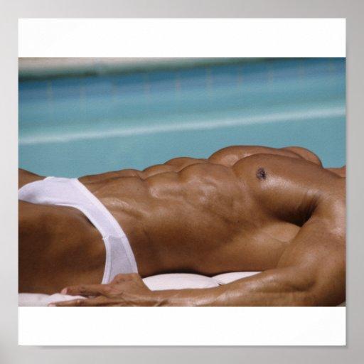 Bodybuilder At Pool Poster
