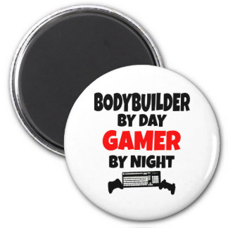 Bodybuilder by Day Gamer by Night 6 Cm Round Magnet