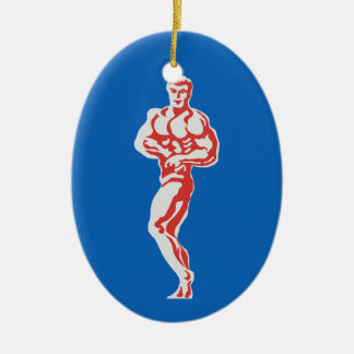 Bodybuilder Ceramic Ornament