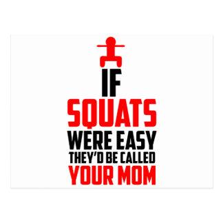 bodybuilder squats postcard
