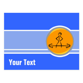 Bodybuilding; blue & orange postcard