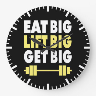 Bodybuilding - Eat Big, Lift Big, Get Big Large Clock
