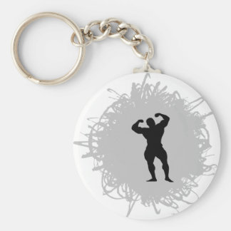 Bodybuilding Scribble Style Basic Round Button Key Ring