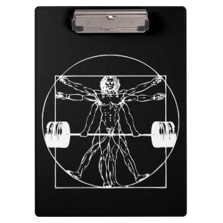 Bodybuilding - Vitruvian Barbell Man Clipboard