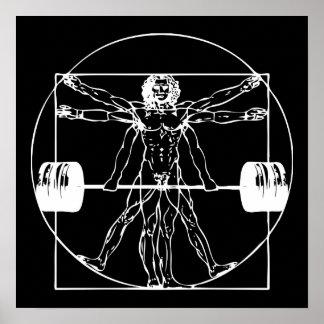 Bodybuilding - Vitruvian Barbell Man Poster