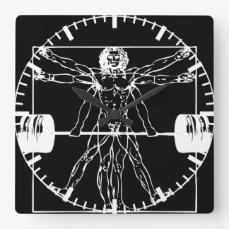 Bodybuilding - Vitruvian Barbell Man Square Wall Clock