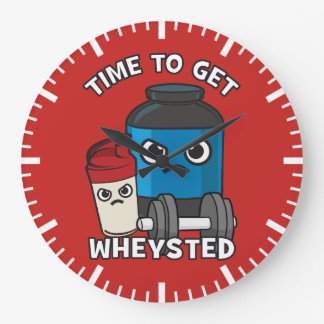 Bodybuilding Workout - Time To Get Wheysted Large Clock