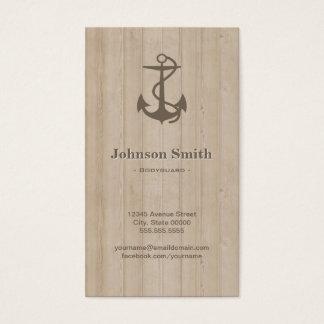 Bodyguard - Nautical Anchor Wood Business Card