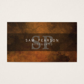 Bodyguard Personal Services Brown GrungeMonogram Business Card